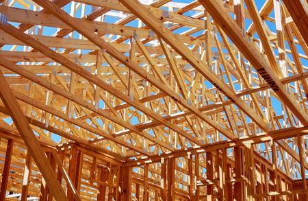 Wood framing on new house under construction Standard-Bild