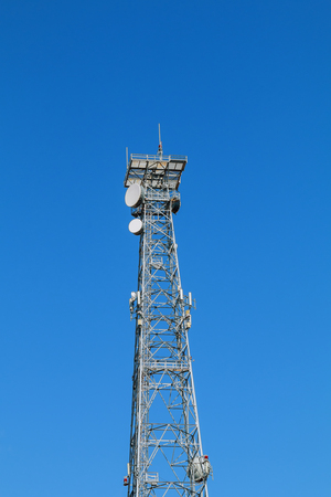 Telecommunication tower and sky blue . communications tower