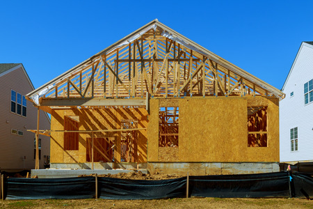 A new stick built home under construction new building house Stock Photo