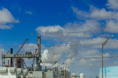 oil and gas industry in powerful processing pipes, pollution, refinery-pipelines, work
