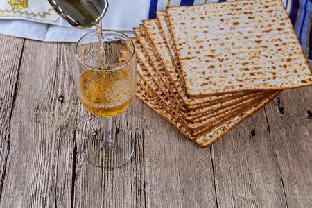 jewry: wine and matzoh jewish passover bread Stock Photo