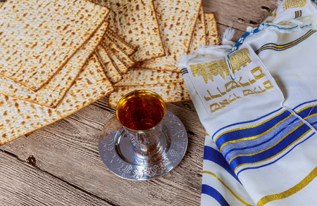 matzoh: Matzo for Passover and wine on table Stock Photo