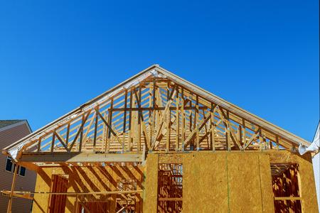 A new stick built home under construction new building house Banque d'images