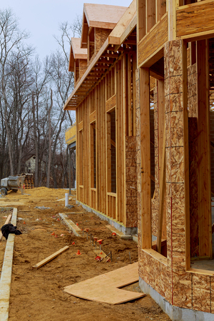 buildingsite: New Houses Being Built In North America Stock Photo