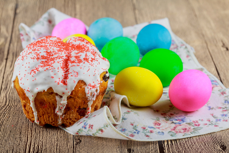 Kulitch Kulich Ukrainian Russian Easter Bread Topped with Decorated with Easter Eggs