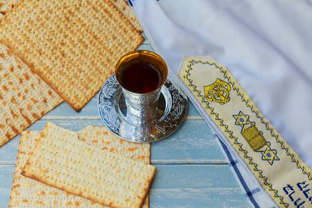 jewish products food, Jewish Holiday symbol Matzoh for jewish holiday Passover pesah on wooden background. View from above Stock Photo