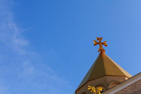 Armenian Apostolic Church Surb Christ Amenaprkich Armenian church cross sky Stock Photo