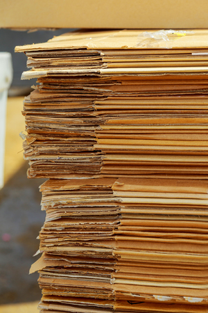 pasteboard: Stacking used cardboard box for recycling textured, waste, wavy, white, yellow