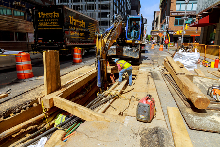 NEW YORK CITY, USA - 04, 2017 : Road Works in Manhattan and Road Construction NYC