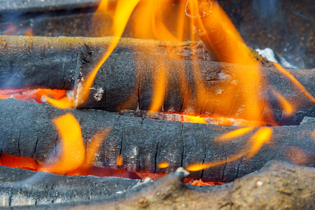 combustible: Burning log of wood in a fireplace close-up
