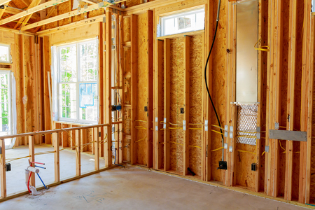 Unfinished Home Framed building or residential home Framing Interior