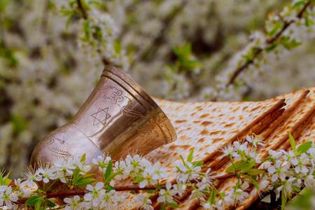 Pesach matzo passover with wine and matzoh jewish passover bread Stock Photo