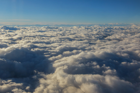 flying above the clouds. view from the airplane Archivio Fotografico