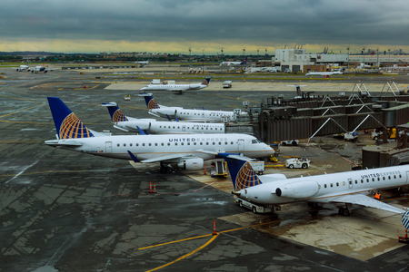 NEWARK, NJ - JUNE 07.17: Terminal A of Newark Liberty International Airport in New Jersey to aircraft of Continental and JetBlue Editorial