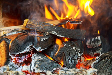 smolder: Burning fireplace. Fireplace as a piece