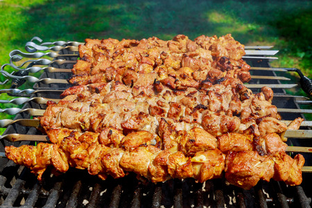 Pork on skewers cooked on barbecue grill. Banco de Imagens