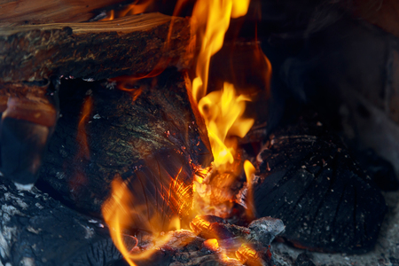 crest of flame on burning wood in fireplace Burning wood and coal