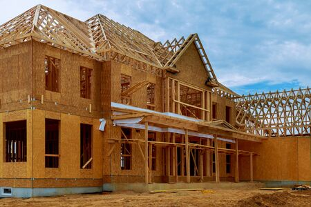 contracting: Framed building or residential home with basic electrical wiring and hvac complete. Stock Photo