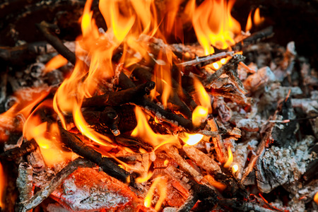 Burning Flames and Glowing Coal in BBQ, HDR image BBQ fire wood Stock Photo