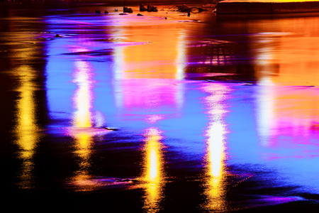 Reflection of light in the river Colorful water reflection