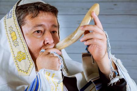 Prayer Shawl - Shofar horn jewish religious symbol