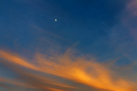 Sky, Bright Blue, Orange And Yellow Colors Sunset. Toned Image
