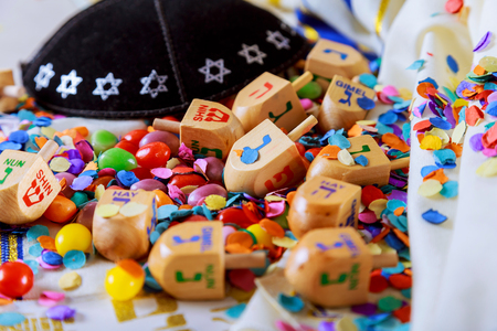Jewish holiday Dreidel A still life composed of elements of the Jewish Chanukah Hanukkah festival.