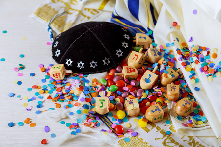 Jewish holiday A still life composed of elements of the Jewish Chanukah Hanukkah festival.