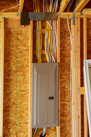 realestate: The frame building or a house with basic electrical wiring