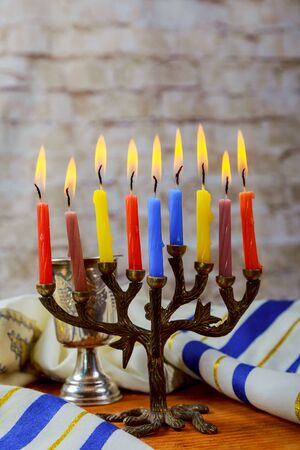 jewish: A still life composed of elements of the Jewish Chanukah Hanukkah festival. jewish holiday Hanukkah