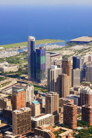hancock: CHICAGO, USA - 20 July, 2017: Chicago Skyline aerial view with park and marina full of boats Chicago view of the city