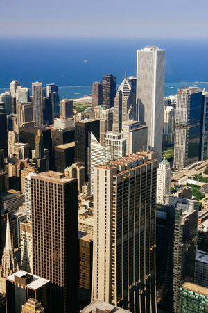 CHICAGO, USA - 20 July, 2017: City of Chicago. Aerial view of Chicago downtown Editorial
