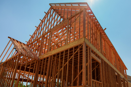 Your dream home. New residential construction house framing Home Under Construction