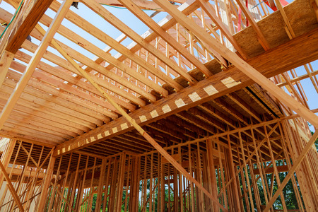 housebuilding: New residential construction house framing residential construction house framing Stock Photo