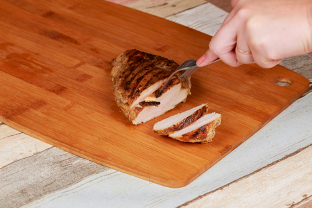Chicken pastrami with selective focus Chicken breast cut