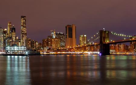Manhattan night New York City manhattan buildings skyline night evening