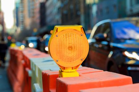 yellow traffic signal warning Yellow Warning Light Standard-Bild