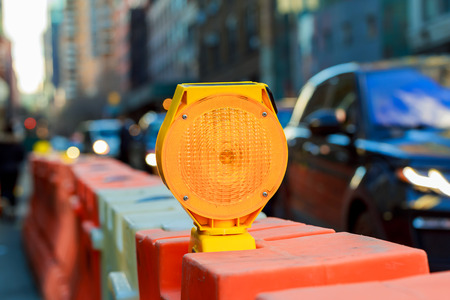 gele verkeer signaal waarschuwing Geel Warning Light Stockfoto