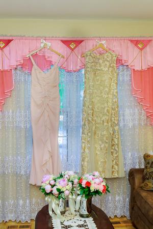 woman is choosing a wedding dress