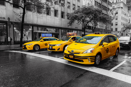 New York City USA 01 augusr 2017: Photo New York City Taxi Cab Yellow in Times Square New York City in Black and white. Blurred out of focus motion, Times Square NYC America USA. Editorial