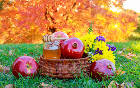 rosh hashanah concept - apple honey and pomegranate over wooden table. honey pomegranate apple Rosh Ashana Stock Photo