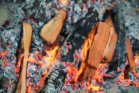 three burning billets in hot stove fire wood Stok Fotoğraf