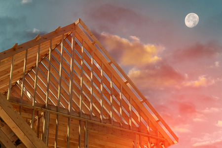 laths: Construction and Roof in progress to new house Stock Photo