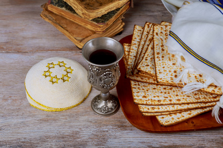 matzah: Jewish holiday Passover background with matzah, and wine. View from above