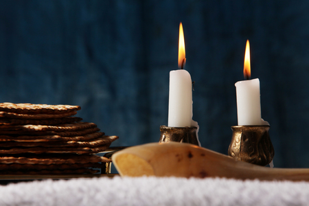 Jewish Holiday symbol, jewish passover food, Pesach candlesticks with lit candles