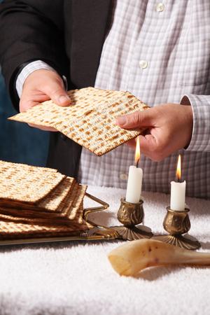 Jewish Holiday symbol, jewish food passover jewish passover food Pesach candlesticks with lit candles Banco de Imagens