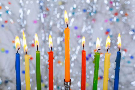 Jewish holiday, Holiday symbol Hanukkah Brightly Glowing Hanukkah Menorah - Shallow Depth of Field