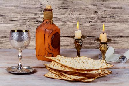 Shabbat Shalom - Traditional Jewish Sabbath ritual matzah, and wine.