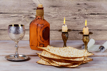 Shabbat Shalom - Traditional Jewish Sabbath ritual matzah, and wine.