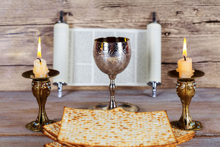 Shabbat Shalom matzah and wine traditional Jewish Sabbath ritual